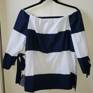 Zara wide neck blouse with 3/4 sleeves.